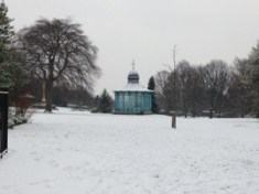 The snow covered bandstand