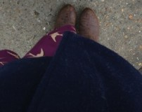 Borrowed boots and pretty dress