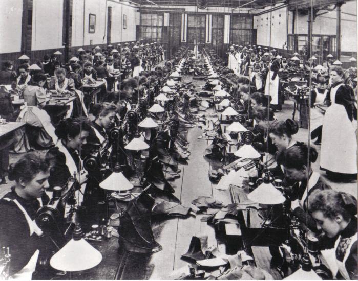 Kobiety-fabryka-obuwia-Londyn-19-wiek