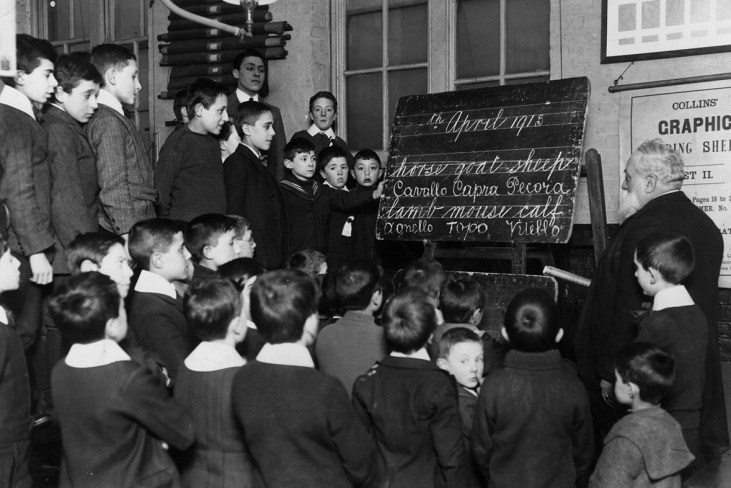 English lessons for Italian children at a school in Soho 1913