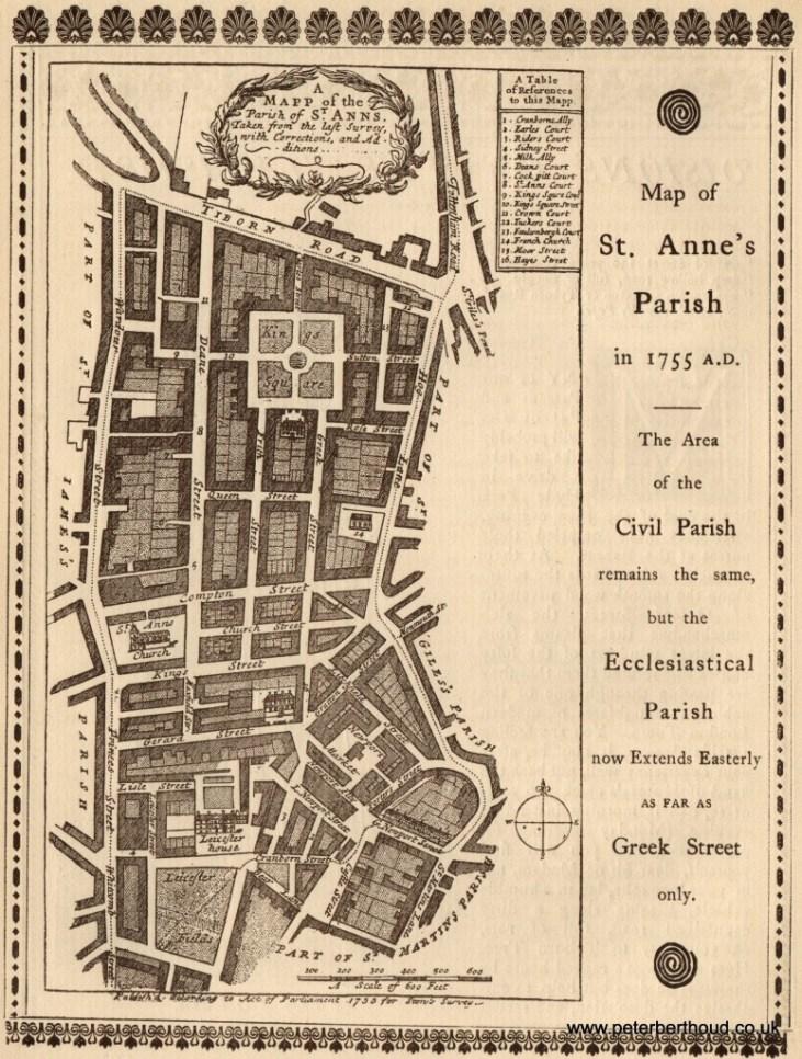 Parafia-st Anne-1755-Soho-stara-mapa