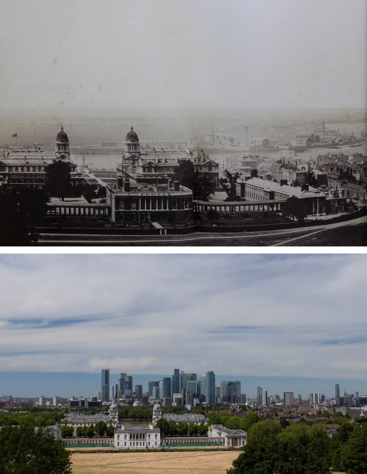 Royal-Observatory-Greenwich-widok-Canary-Wharf-Isle-of-Dogs-Londyn-kiedyś-i-dziś