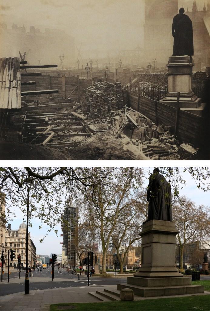 Parliament-Square-budowa-linii-metra-Londyn-kiedyś-i-dziś