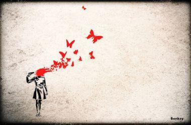 fille se tirant dans la tête - Banksy