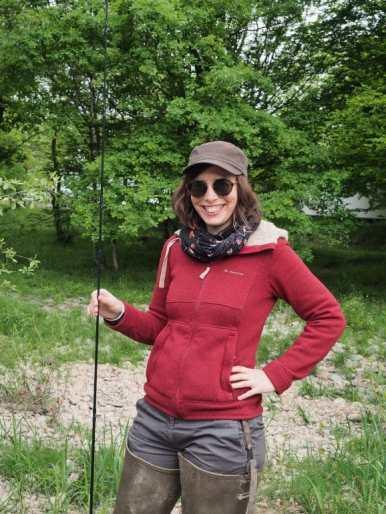 moi en cuisarde pour pêcher à la mouche