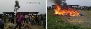 destroying illegal fishing gears in Burundi