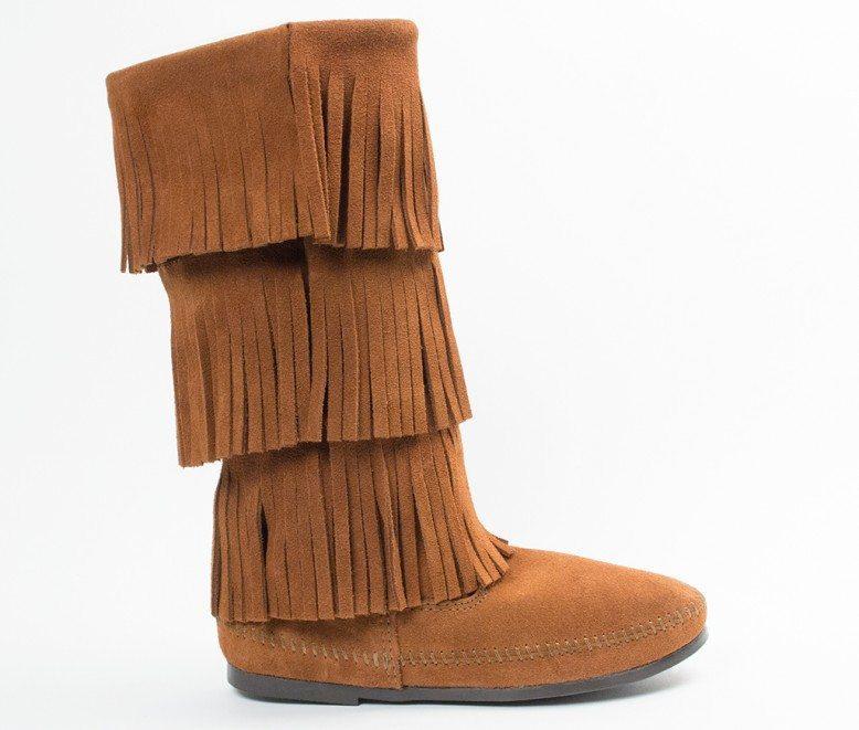 Women/'s Minnetonka 3-Layer Fringe Boot Brown 1632