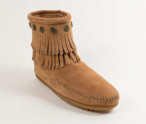 womens boots double fringe taupe 697t
