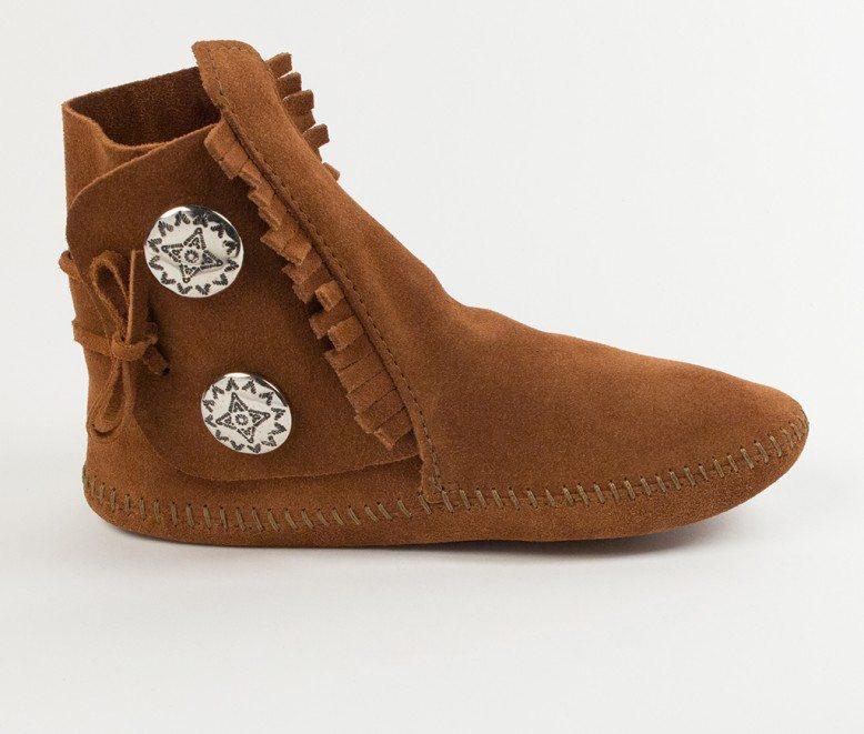Hardsole Black Suede 7 Minnetonka Women/'s Two Button Boot