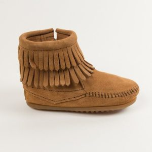 kids boots double fringe zip taupe 2297T