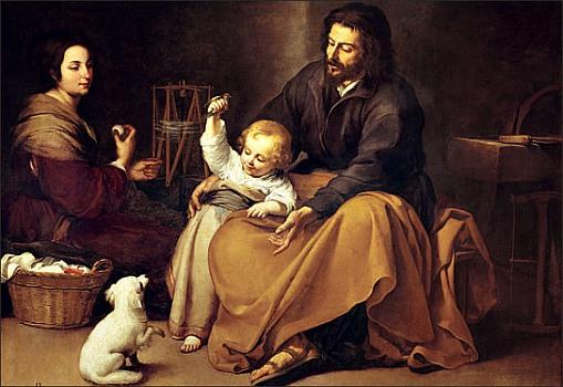 Holy Family with a Bird, by Bartolomé Esteban Murillo, 1650
