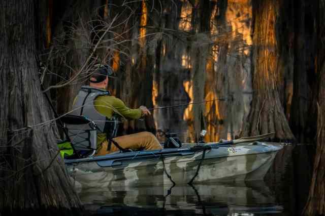 Kayak fishing at night