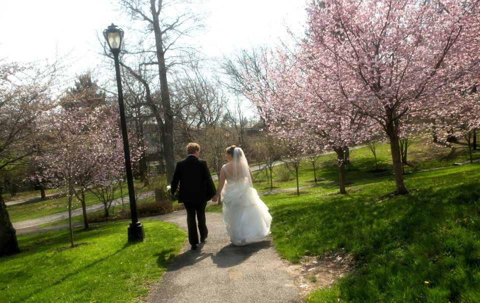 bride and groom spring