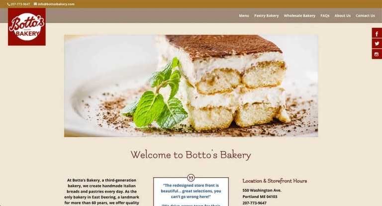 bottosbakery.com homepage
