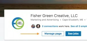 Screenshot to show where to go to manage your Linked In page