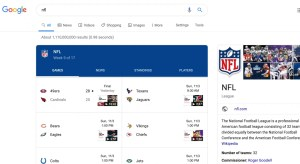 Screenshot of NFL scores to show how Google White Hat SEO works