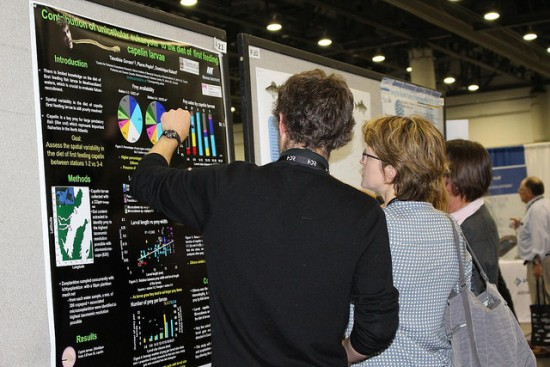 Photo of a poster session at the American Fisheries Society