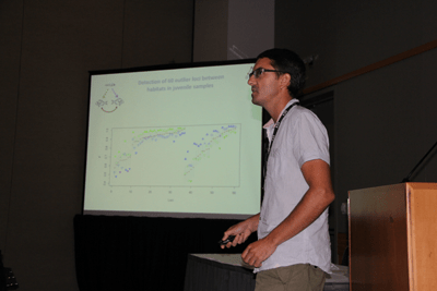 Pierre-Alexandre Gagnaire presenting on the detection of signals of selection in Sea Bream inhabiting different environments. Credit: Jim Seeb