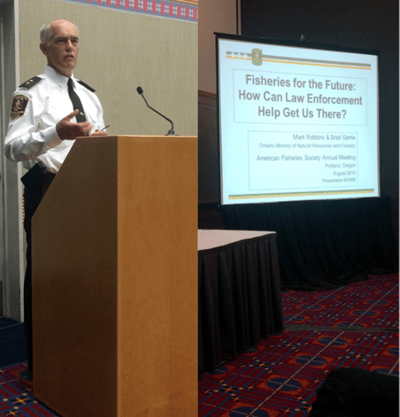 Mark Robbins, a provincial enforcement specialist with the Enforcement Branch of the Ontario Ministry of Natural Resources and Forestry, closes the symposium with a presentation on the future of fisheries law enforcement. Credit: Molly J. Good