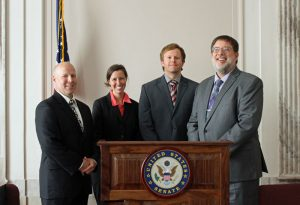 Speakers for the Climate Change and Inland Fish briefing included Len Hunt, Abigail Lynch, James Whitney, and Criag Paukert.