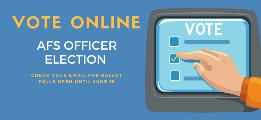 "<a href=""https://fisheries.org/2018/05/second-vice-president-election-now-open/"">AFS Officer Election</a> slide"