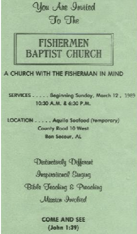 Invitation to First Service on March 12, 1989 image