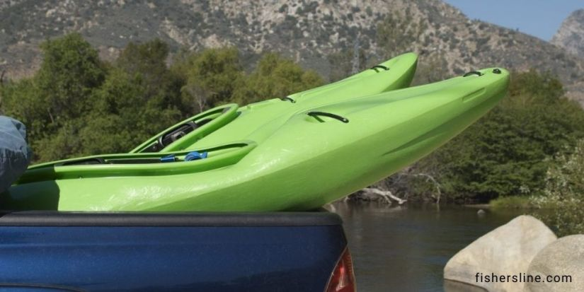 Transport-two-kayaks-Via-Truck-Bed