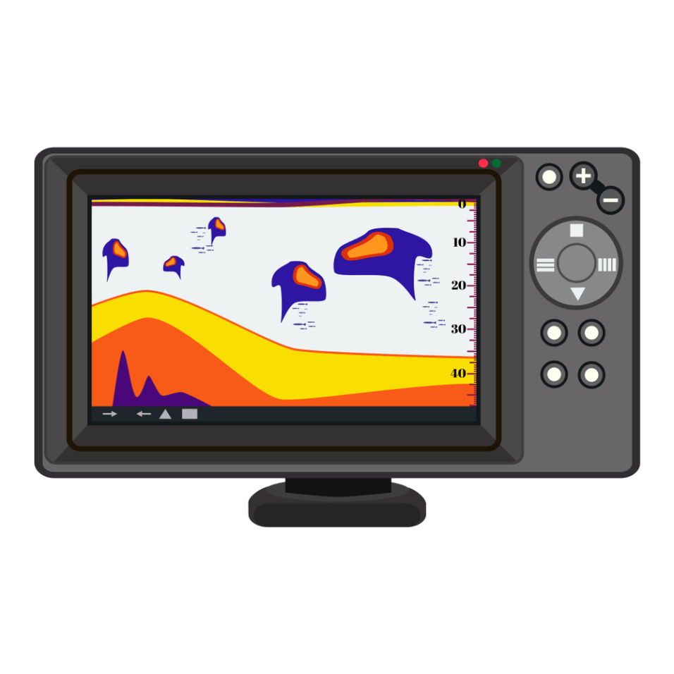 Fish finder echo sounder. Electronic equipment for fishing. Vector illustration isolated on white background.