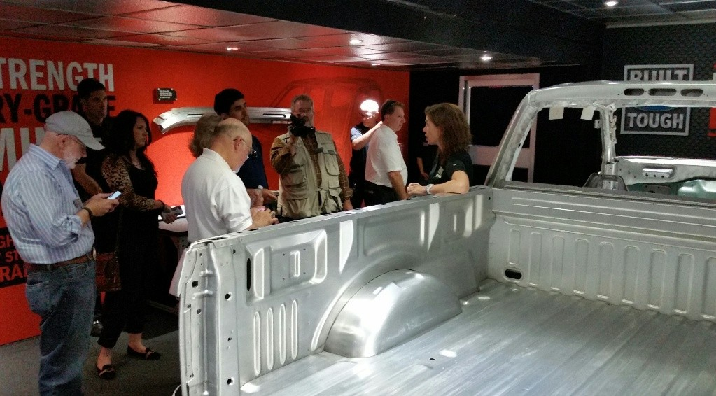 Automotive media sees the undressed F-150 aluminum body