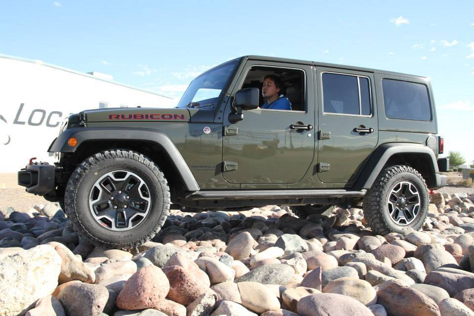 Jeep Wrangler on rock crawl course.