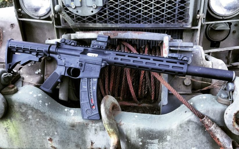 Suppressed S&W M&P 15-22 Integral Rifle