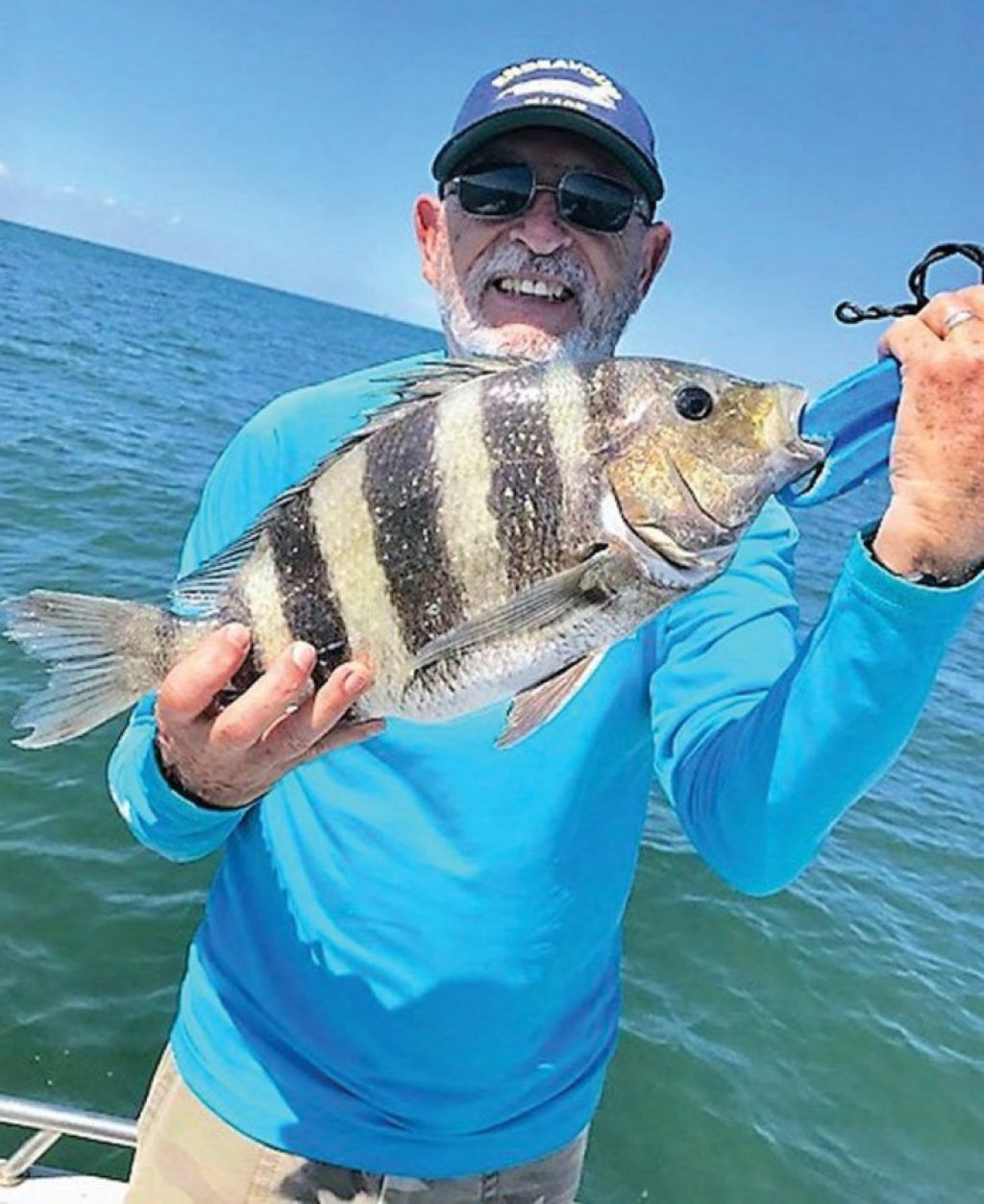 Wes Pyfer of Irving caught this nice sheepshead and several others while free lining live shrimp along the North Jetty near Galveston.
