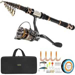 PLUSINNO Fishing Rod and Reel Combos -24 Ton Carbon Fiber Telescopic Fishing Pole - Spinning Reel 12 +1 Shielded Bearings Stainless Steel BB-Free Carrier Bag Case, Travel Saltwater Freshwater Fishing