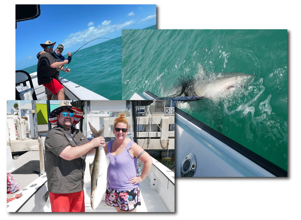 images from a fishing trip in Key West, one with a man and woman holding a Redfish, one with a large Bull Shark, and one with the captain posing while the angler fights the fish
