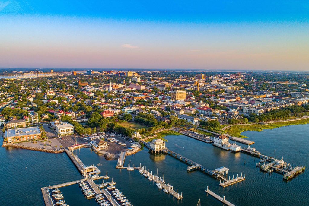 An aerial view of Charleston, South Carolina, with the marina in the foreground