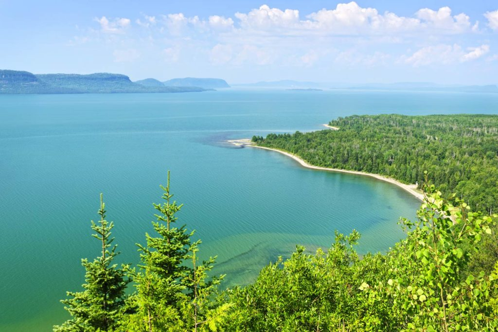 Lake Superior's northern shoreline as seen from above in Ontario, Canada