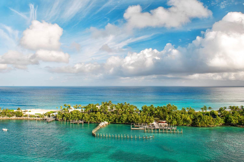 An aerial view of a beach in Nassau, Bahamas