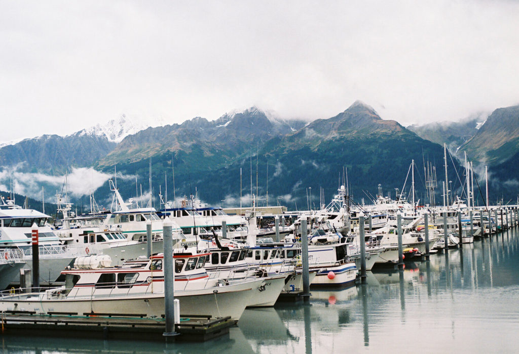 Harbor with boats in Alaska