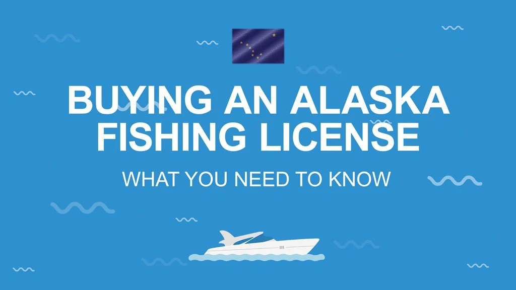 White text reading 'Buying an Alaska fishing license' on a blue background with the Alaskan state flag above and a vector of a boat below