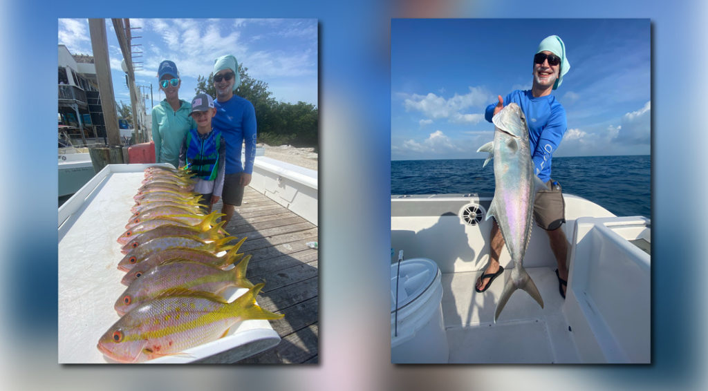 two images of a smiling family on their fishing trip, caught while posing with their catch
