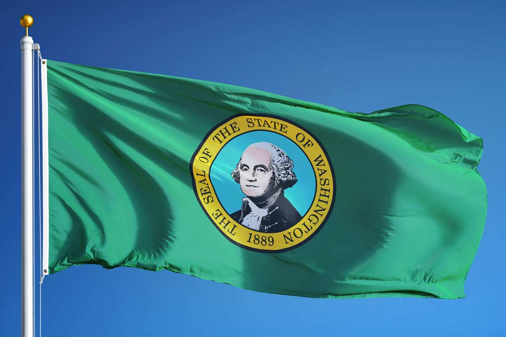 State flag of Washington flying in the wind