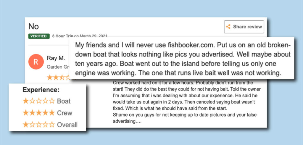 a negative customer review that mentions an old run-down boat that looks nothing like the images that were advertised