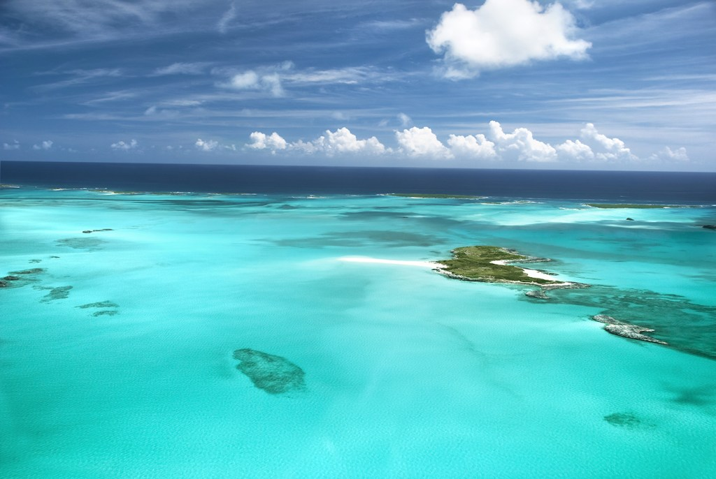 A remote uninhabited island in the Bahamas