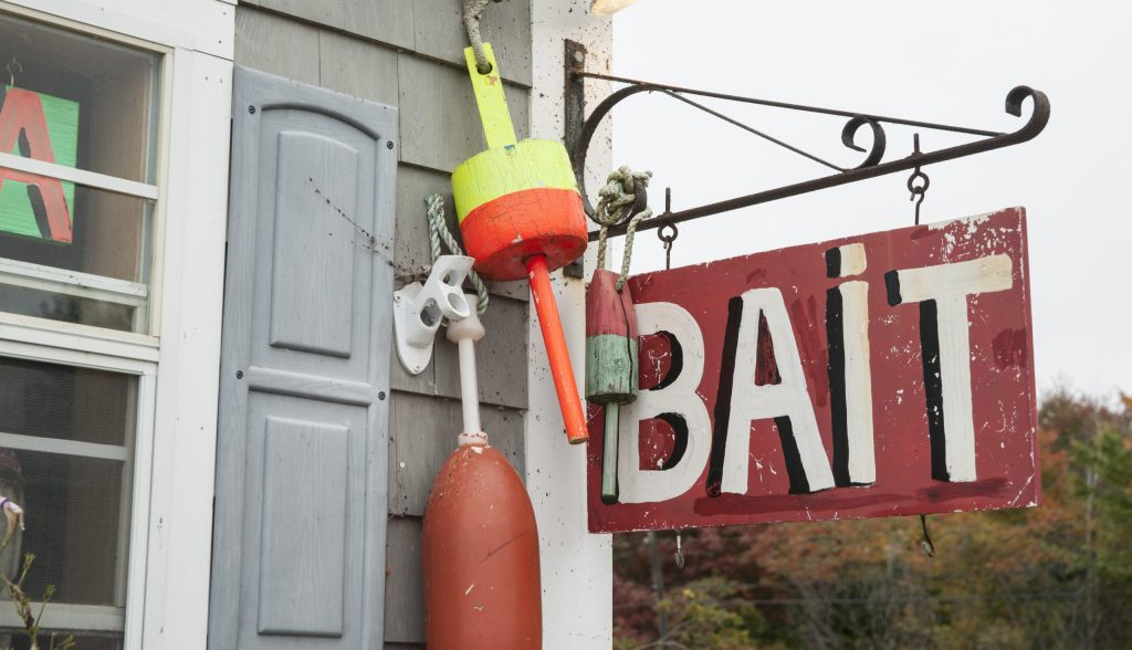 The outside of a bait, tackle, and license shop.