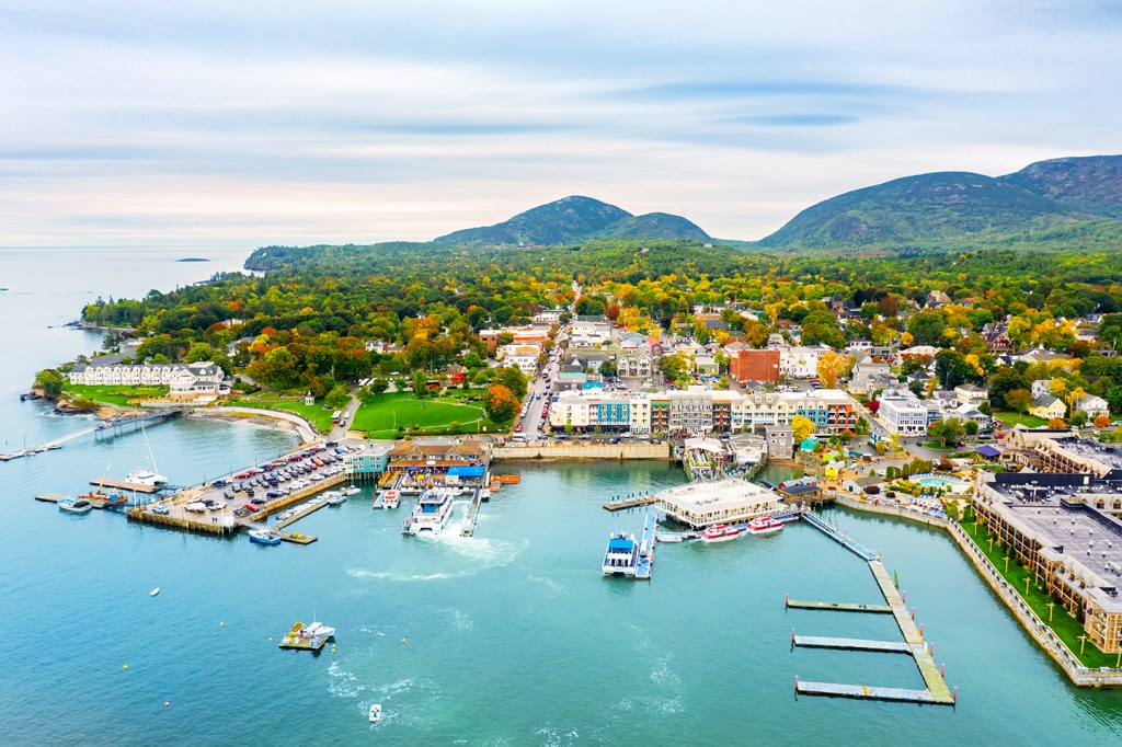 An aerial view of the fishing village of Bar Harbor, Maine