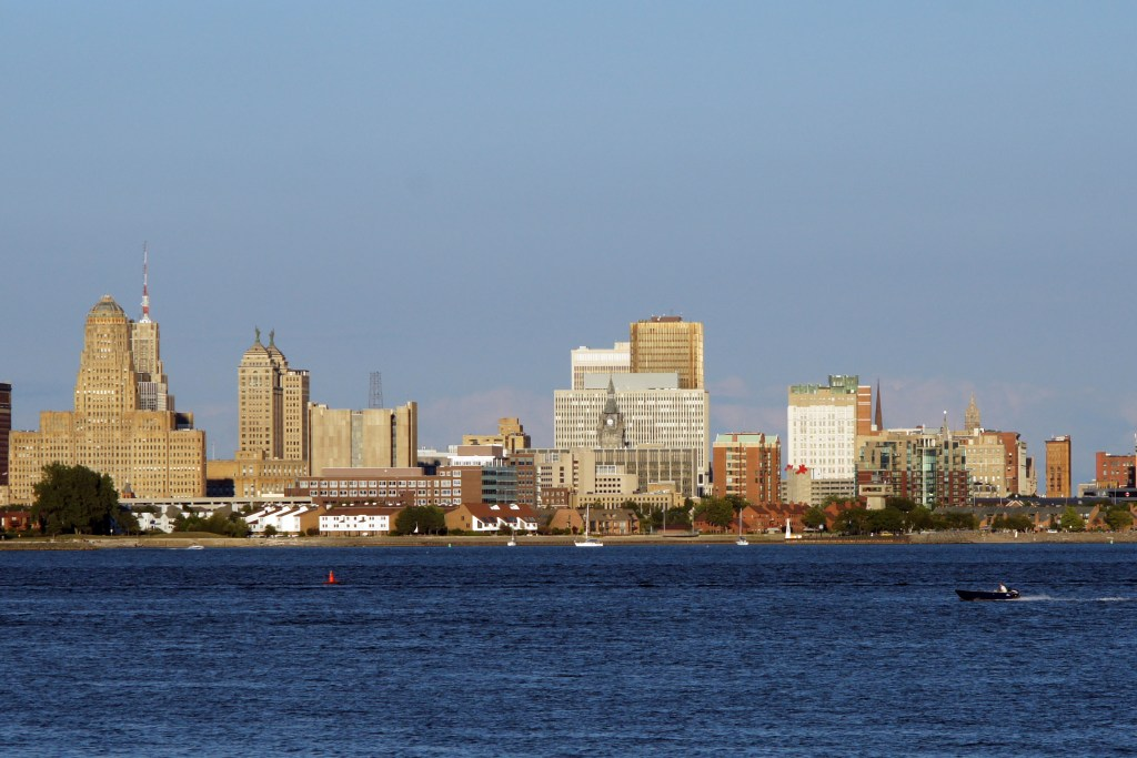 The skyline of Buffalo, NY, one of the most popular Great Lakes fishing towns in America