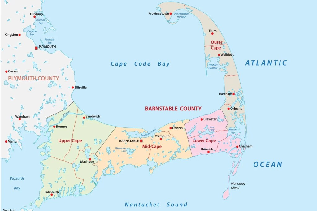 A map of Cape Cod and its main towns