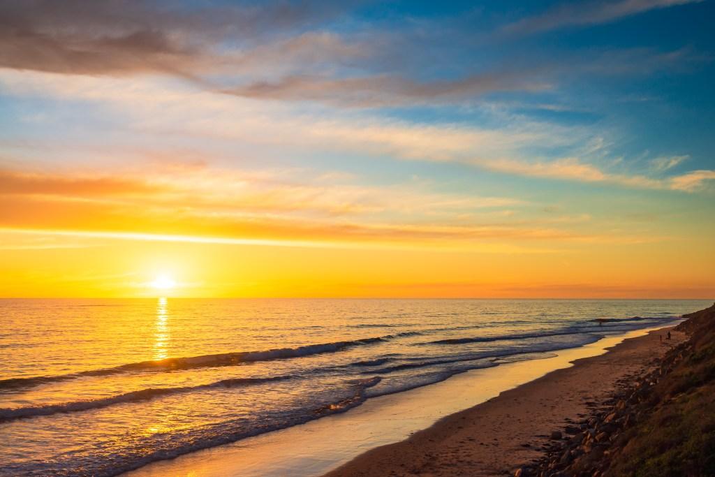 Christies Beach shoreline at sunset, South Australia