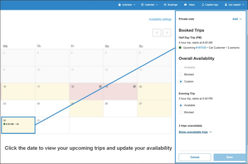One date selected on the calendar with availability settings on the right
