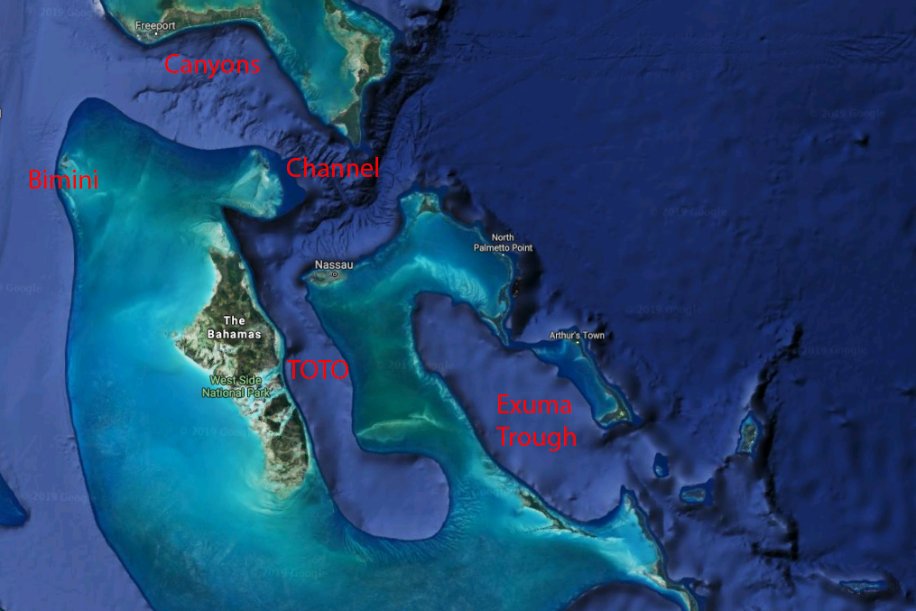 A map of the best places for deep sea fishing in the Bahamas, including Bimini, the Canyons, the Channel, the Tongue of the Ocean, and the Exuma Trough